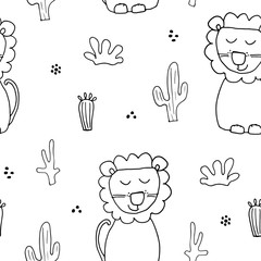 Cute Lion Seamless Pattern, Cartoon Hand Drawn Animal Doodles Vector Illustration Background