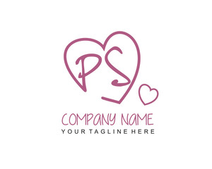 Initial letter PS handwriting logo with heart template vector
