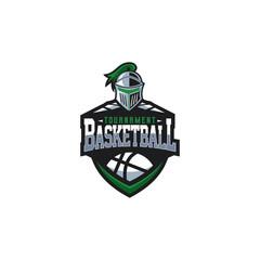 Basketball tournament logo design witg knight mascot
