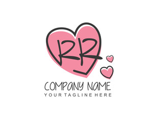 Initial letter RR handwriting logo with heart template vector