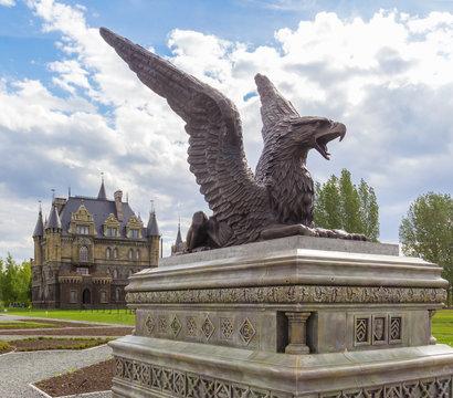 Griffin sculpture on a pedestal near the Garibaldi castle, Samara region