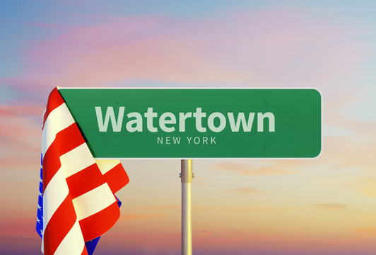 Watertown – New York. Road or Town Sign. Flag of the united states. Sunset oder Sunrise Sky. 3d rendering