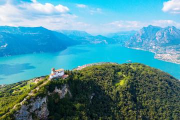 Lago D'Iseo (IT) - Monte Isola - vista aerea della Chiesa della Madonna della Ceriola