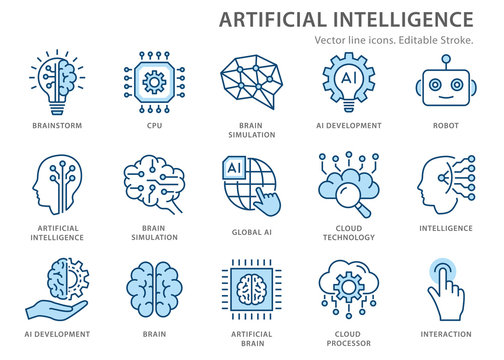 Artificial intelligence line icons set. Vector illustration. Editable stroke.