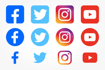 Set of facebook twitter instagram and youtube icons