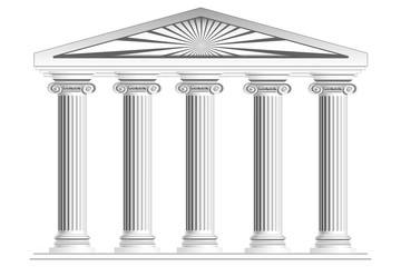 Columns with arch isolated on white background. 3d rendering.
