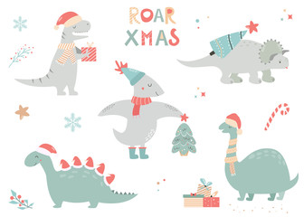 Christmas set with festive dinos, cute characters