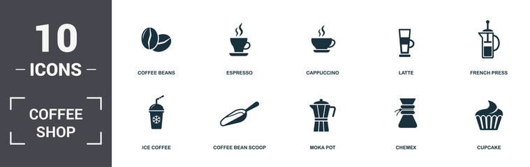 Coffe Shop set icons collection. Includes simple elements such as Coffee Beans, Espresso, Cappuccino, Latte, French Press, Coffee Bean Scoop and Moka Pot premium icons