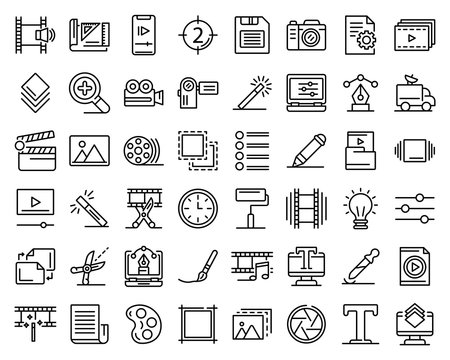 Editor icons set. Outline set of editor vector icons for web design isolated on white background