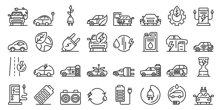 Hybrid icons set. Outline set of hybrid vector icons for web design isolated on white background