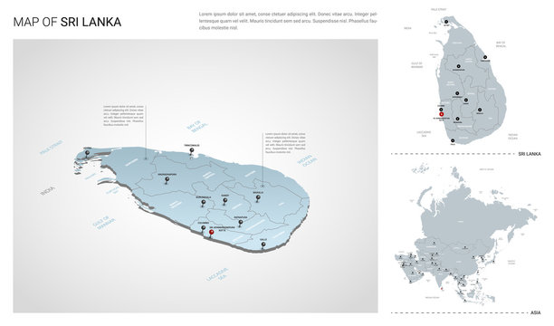 Vector set of Sri Lanka country.  Isometric 3d map, Sri Lanka map, Asia map - with region, state names and city names.
