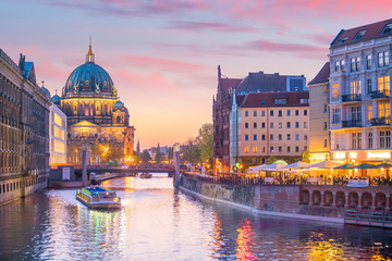 Wall Murals Berlin Berlin skyline with Spree river at sunset twilight