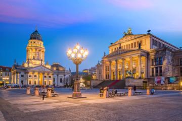 Fototapete - Panoramic view of famous Gendarmenmarkt square  at sunset in Berlin