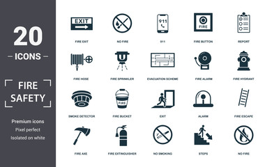Fire Safety icon set. Contain filled flat smoke detector, fire hose, fire escape, alarm, no fire, fire sprinkler, fire button icons. Editable format