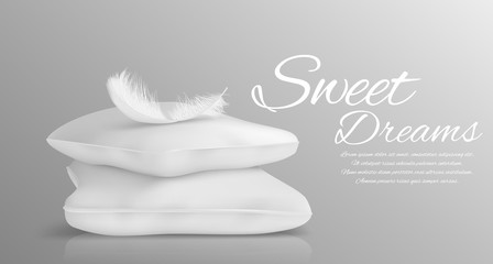 Fluffy feather and white pillows isolated in realistic style monochrome vector illustration