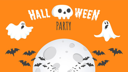 Papiers peints Halloween Happy Halloween text postcard banner with ghosts scary face, human scull and text happy halloween isolated on orange background flat style design.