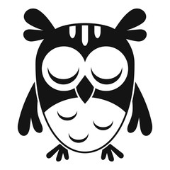 Sleeping owl icon. Simple illustration of sleeping owl vector icon for web design isolated on white background