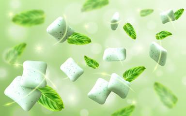 Fototapeta Mint flavor gum with leaf mint on light green background. Vector realistic illustration obraz