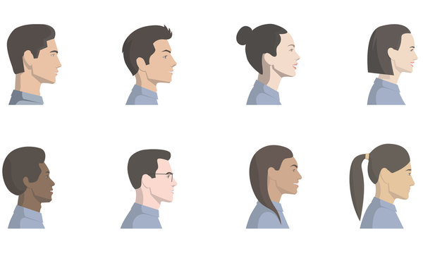 Set of vector illustrations with side view of a faces of a beautiful men and women