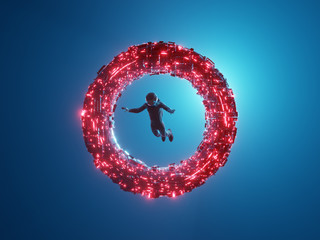 Cosmonaut flying through a luminous neon ring, portal. 3D rendering