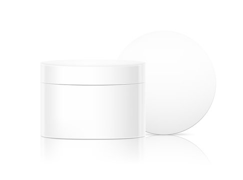 Blank cosmetic package container for creme. Vector illustration isolated on white background. Can be use for your design, advertising, promo and etc. EPS10.