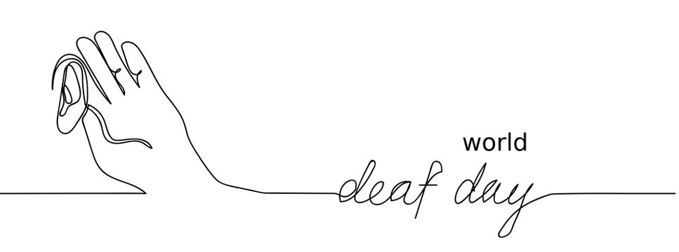 World deaf day simple one single line sketch. Continuous hand drawing banner.