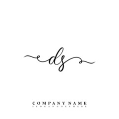 Initial letter DS beauty vector handwriting concept logo