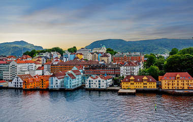 Stavanger, Norway, sea view of the city.  Stavanger is one of the most beautiful cities in Scandinavia, surrounded by forests and the Norwegian sea. It is the tourist and oil capital of the country.