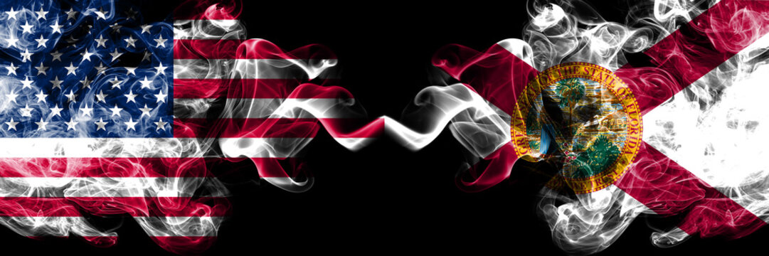 United States of America, USA vs Florida state background abstract concept peace smokes flags.