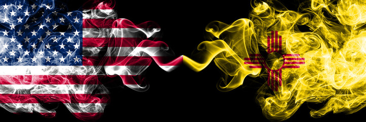 United States of America, USA vs New Mexico state background abstract concept peace smokes flags. Fototapete
