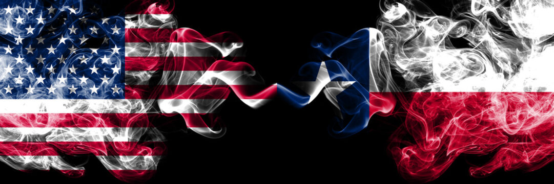 United States of America, USA vs Texas state background abstract concept peace smokes flags.