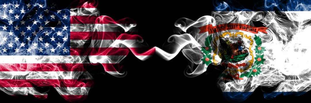 United States of America, USA vs West Virginia state background abstract concept peace smokes flags.