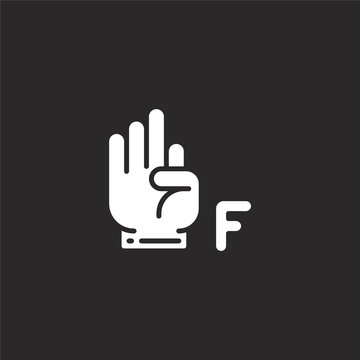 sign language icon. Filled sign language icon for website design and mobile, app development. sign language icon from filled language collection isolated on black background.