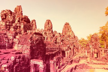 Wall Mural - Cambodia - Angkor Thom. Retro filtered colors style.