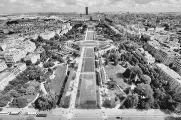 Wall Mural - Paris aerial view. Champ De Mars. Black and white retro style.