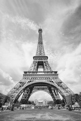Wall Mural - Eiffel Tower. Black and white retro style.