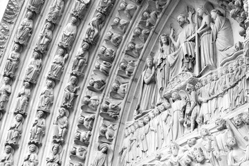 Wall Mural - Paris - Notre Dame. Black and white retro style.