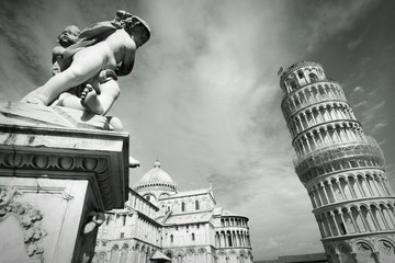 Wall Mural - Pisa, Italy. Black and white retro style.