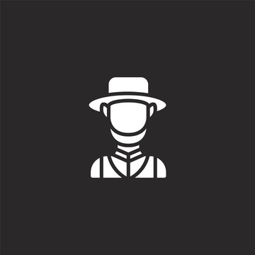 amish icon. Filled amish icon for website design and mobile, app development. amish icon from filled stereotypes collection isolated on black background.