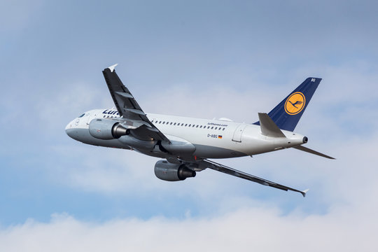 cologne, nrw/germany - 31 03 18: lufthansa airplane starting at cologne bonn airport germany