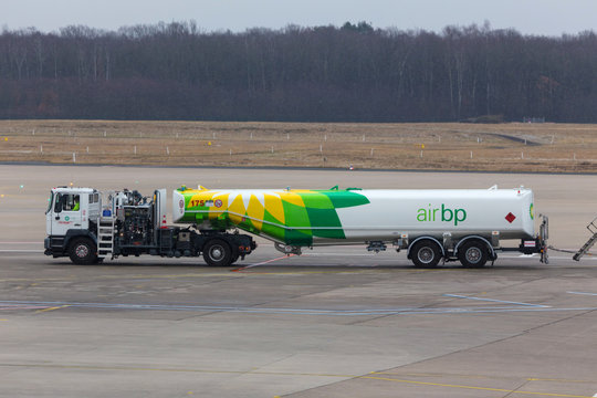 cologne, nrw/germany - 17 03 18: air bp gasoline truck on ground at cologne bonn airport germany