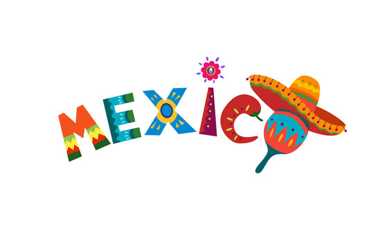Mexico word in Mexican traditional ornament text for festive card or invitation in country. Bright design element sun with fiesta style chilli and sombrero. Ethnic vector design illustration