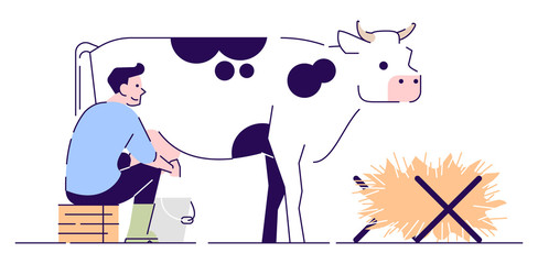 Farmer milking cow flat vector character. Livestock, cattle agriculture and animal husbandry. Dairy farm cartoon concept with outline. Rural man working in cowshed isolated illustration on white