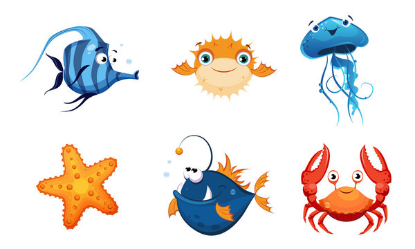 Cute Friendly Sea Creatures Set, Colorful Sea Fishes and Animals Vector Illustration