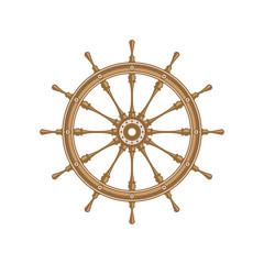 Wooden ship wheel. Boats helm isolated on white background. Rudder icon. Marine vintage vector illustration. EPS 10.