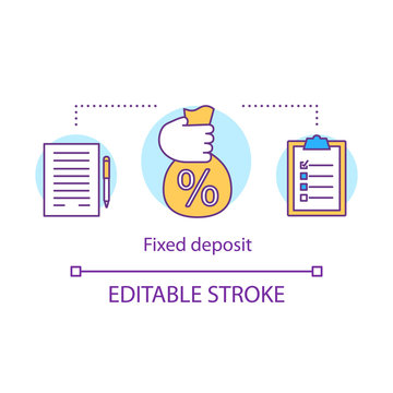 Savings concept icon. Fixed deposit idea thin line illustration. Creating investment account. Getting bigger profits, interest until maturity date. Vector isolated outline drawing. Editable stroke