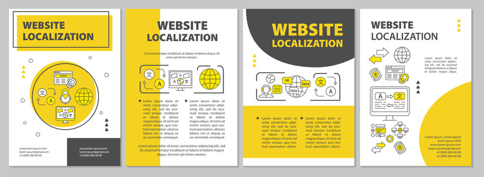Website localization brochure template layout. Webpage translation flyer, booklet, leaflet print design with linear illustrations. Vector page layouts for magazines, reports, advertising posters
