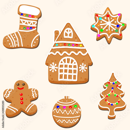 Christmas Gingerbread House Drawing.Vector Drawing Of A Christmas Card Design Gingerbread House