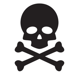 skull and crossbones icon on white background. flat style. skull design icon for your web site design, logo, app, UI. danger symbol. poison sign.