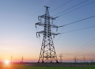 High voltage lines and power poles and green agricultural landscape during sunrise.